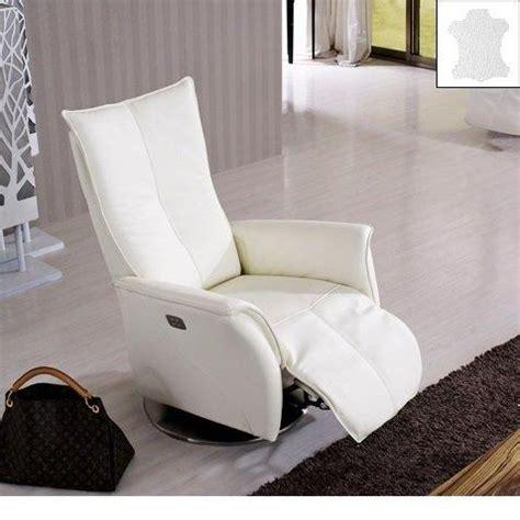 premium fauteuil relax electrique cuir vachette blanc