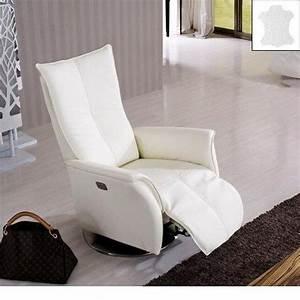 Fauteuil Cuir Blanc : premium fauteuil relax electrique cuir vachette blanc ~ Melissatoandfro.com Idées de Décoration