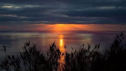 Horizon Sunset Sea Clouds Wallpapers Background Twilight