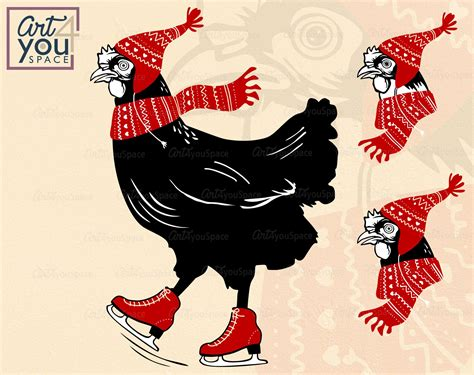 Think you've got your head wrapped around animal farm? Chicken ice skating Svg cricut, funny winter animal ...