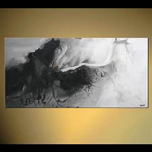 Painting - black and white abstract painting home decor #5008
