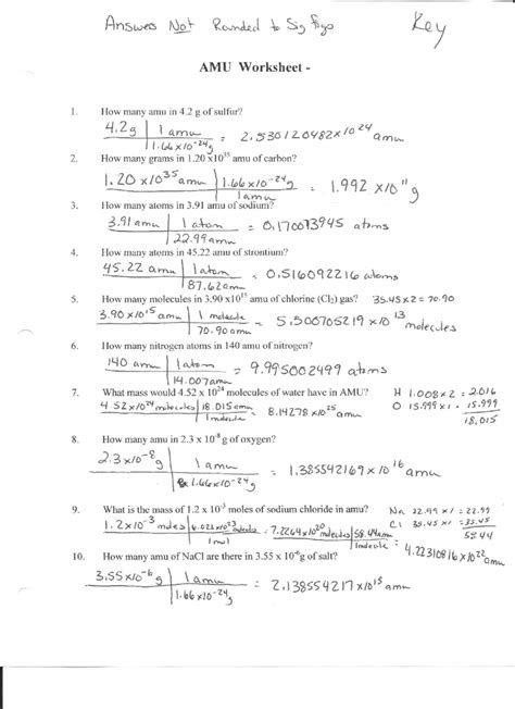 Mole Calculation Worksheet Answers Worksheets For All