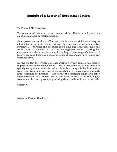 reference letter  recommendation sample sample manager