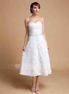 a line princess sweetheart tea length organza lace wedding With tea length sweetheart wedding dresses