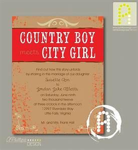 country boy meets city girl wedding invitation printable With country girl wedding invitations