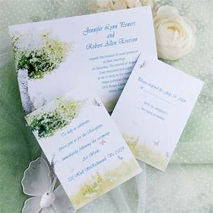 Cheap rustic green tree and butterfly wedding invitations for Inexpensive butterfly wedding invitations