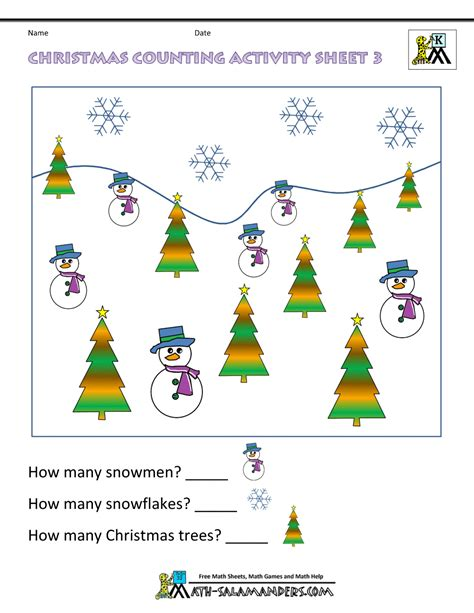 kindergarten math christmas worksheet search results