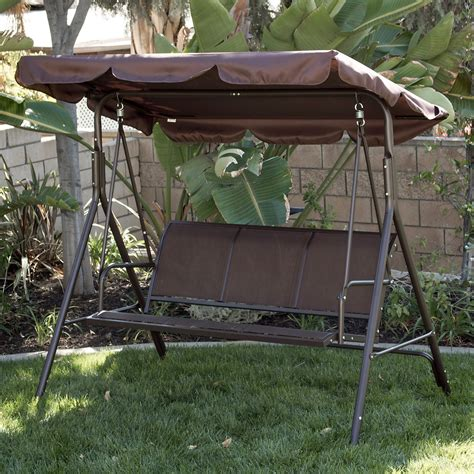 canapé swing 3 person patio swing outdoor canopy tilt awning yard