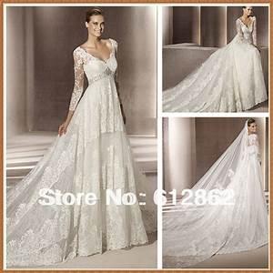 Aliexpresscom buy long train empire waist long sleeve for Long sleeve empire waist wedding dress