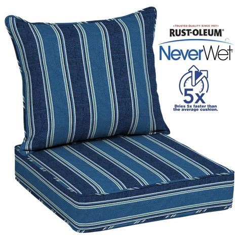 allen roth neverwet  piece blue coach stripe deep seat
