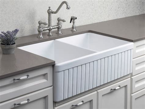 the kitchen sink nyc alfi ab537 32 3 4 quot fluted double bowl fireclay farmhouse