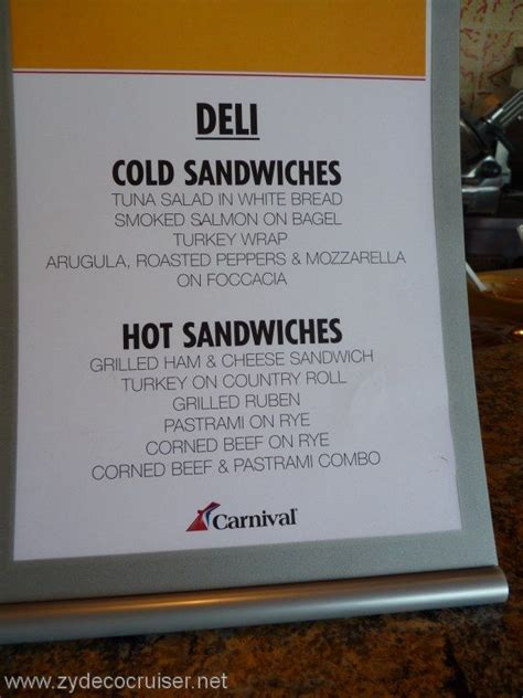 Deck Bahamas Menu by Carnival Cruise Line Deli Menu Food Pictures Carnival