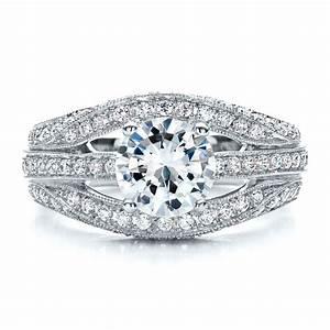 diamond split shank engagement ring vanna k 100107 With split shank wedding ring