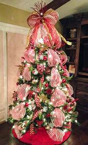 Deco mesh Christmas tree with red chevron burlap ribbon ...