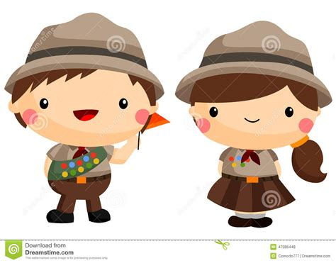 Boy and girl scout stock vector. Image of smile, female ...