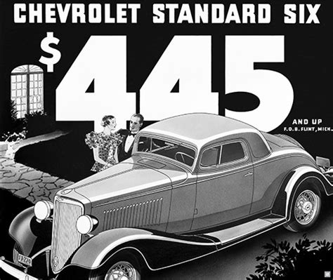 chevrolet  standard coupe ad art poster chevymall