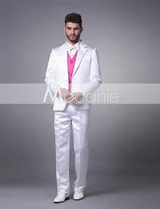Costume Homme Mariage Blanc : magique gilet costume homme sur mesure deux boutons pas cher en tissu satin m1407306382 modanie ~ Farleysfitness.com Idées de Décoration