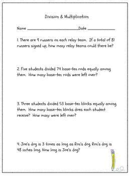 multiplication and division word problems grades 3 4