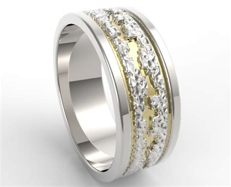 hammered  tone gold wedding band mens vidar jewelry
