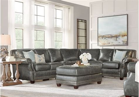 frankford charcoal  pc leather sectional