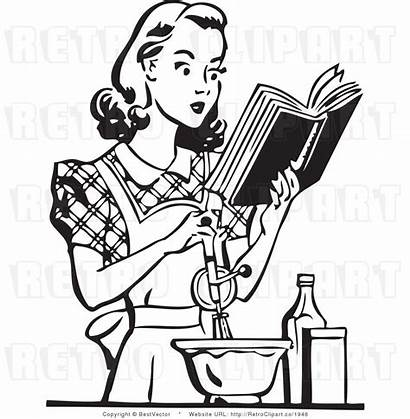 Clip Cooking Clipart Retro Housewife Cook Cookbook