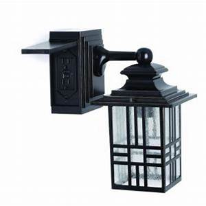 hampton bay mission style black with bronze outdoor With outdoor plug in porch light