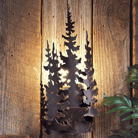 rustic lamps bear forest metal wall lampblack forest decor