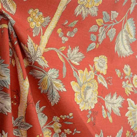 Jacobean Floral Curtain Fabric by Island Living Crimson Jacobean Floral Cotton Drapery