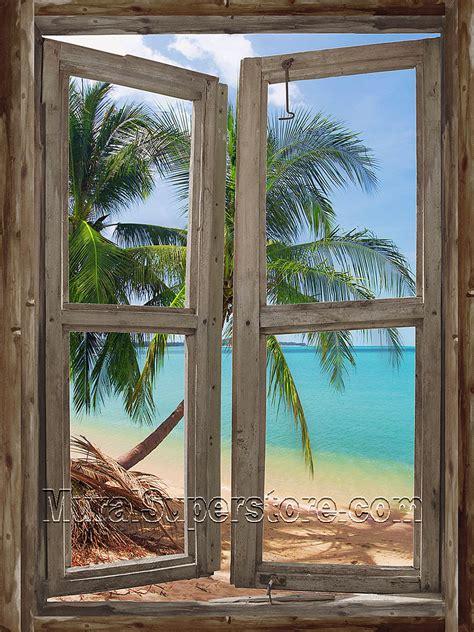 beach cabin window  wall mural