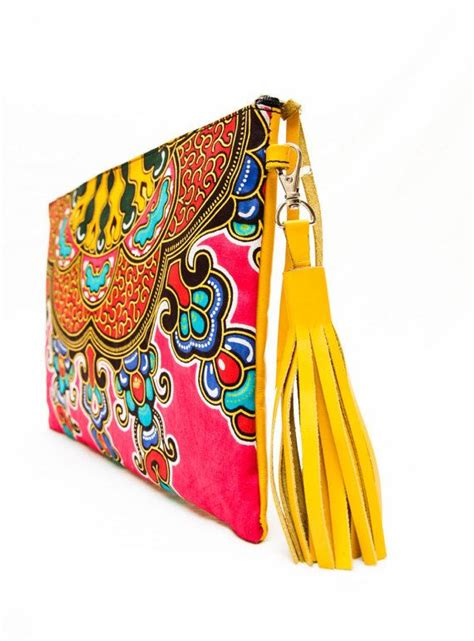 tembo kitenge clutch bag yellow leather african print