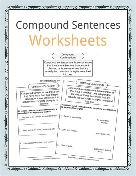 compound sentences worksheets examples definition  kids