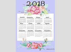 Calendário 2018 com Flores Para imprimir — SÓ ESCOLA