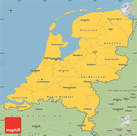 savanna style simple map  netherlands