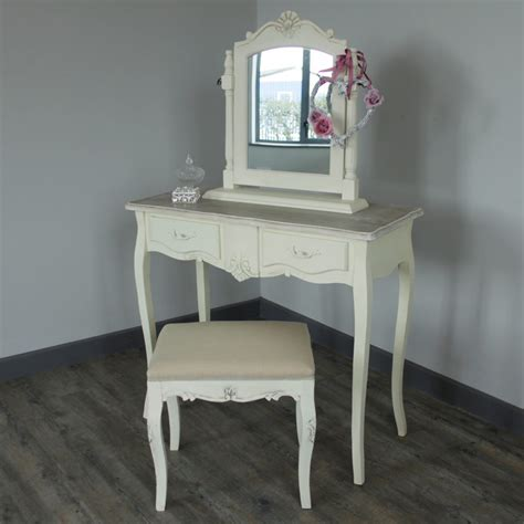vanity table and stool cream wooden dressing table set mirror stool shabby french