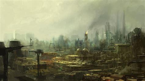 industrial science fiction artwork plants wallpaper