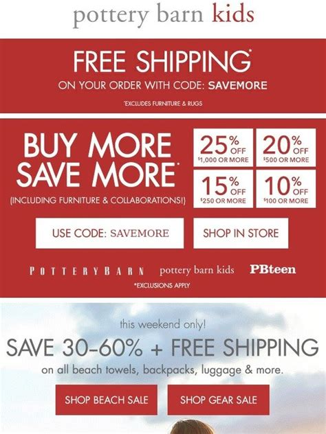 pottery barn free shipping pottery barn the whole is on up to 25