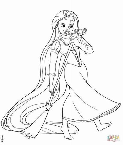 Rapunzel Coloring Pages Tangled Printable Sweeping Disney