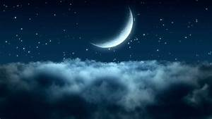 Flying, Over, The, Clouds, In, The, Night, With, The, Moon, Seamless, 3d, Animation, Hd, 1080, Stock, Footage