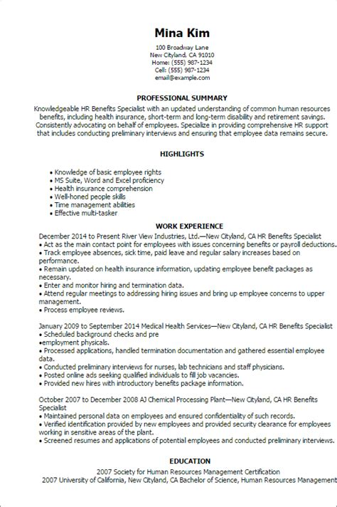 Insurance Benefits Administrator Resume by Professional Hr Benefits Specialist Templates To Showcase Your Talent Myperfectresume