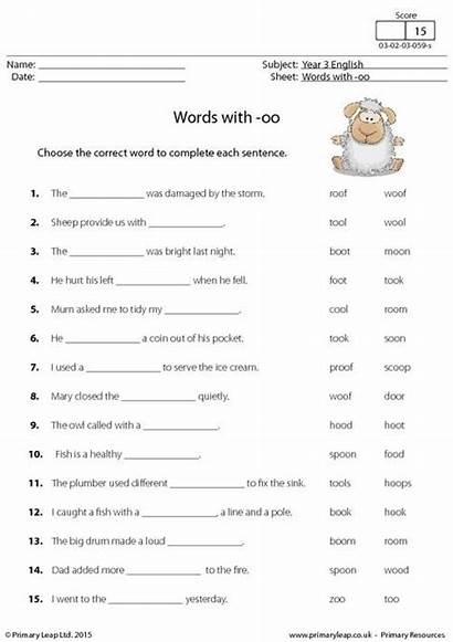 Worksheets Literacy Oo Words English Printable Sentences