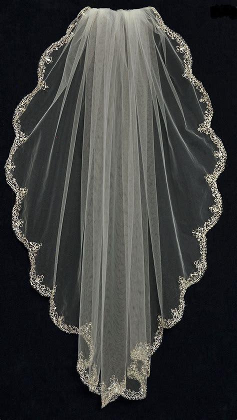 Fingertip Wedding Veil With Rhinestone Beaded Silver