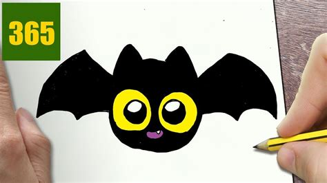 draw  halloween bat cute easy step  step
