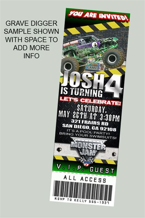 ticket template monster monster jam party tickets and ticket invitation on pinterest
