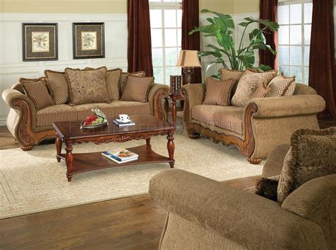 traditional chenille living room savonna  light brown