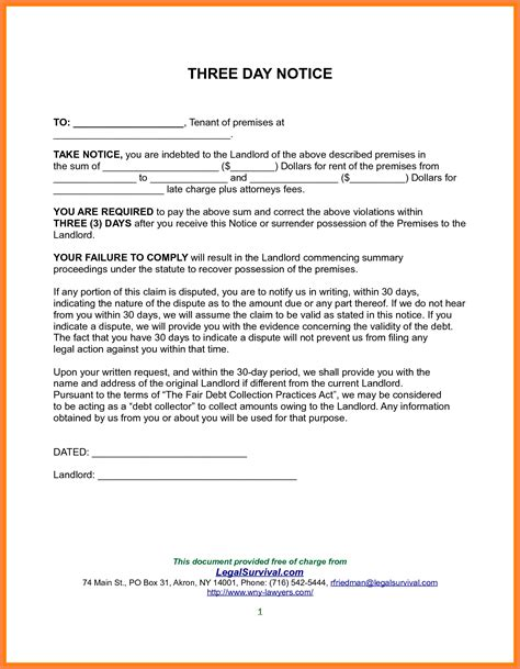 day notice  tenant notice letter