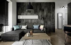 Holz Farbe Anthrazit : modernes wohnzimmer mit dunklem sofa einrichten 55 ideen ~ Sanjose-hotels-ca.com Haus und Dekorationen