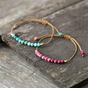 Boho, Bracelet, Unique, Natural, Stone, Simple, String, Bracelet, Friendship, Bead, Strand, Bracelet