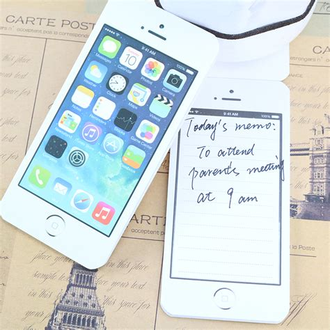 White Fashion Sticky Post It Note Paper Cell Phone Shaped