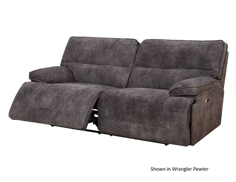 power dual reclining sofa and dual reclining seat with console wrangler pewter
