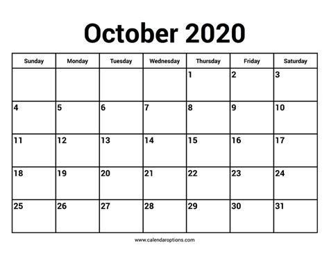 october  calendars calendar options